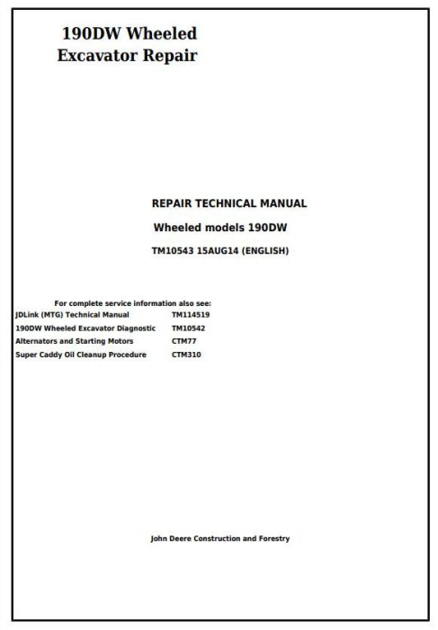 First Additional product image for - John Deere 190DW Wheeled Excavator Service Repair Technical Manual (tm10543)