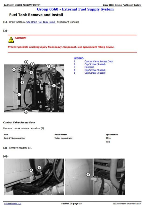 Second Additional product image for - John Deere 190DW Wheeled Excavator Service Repair Technical Manual (tm10543)