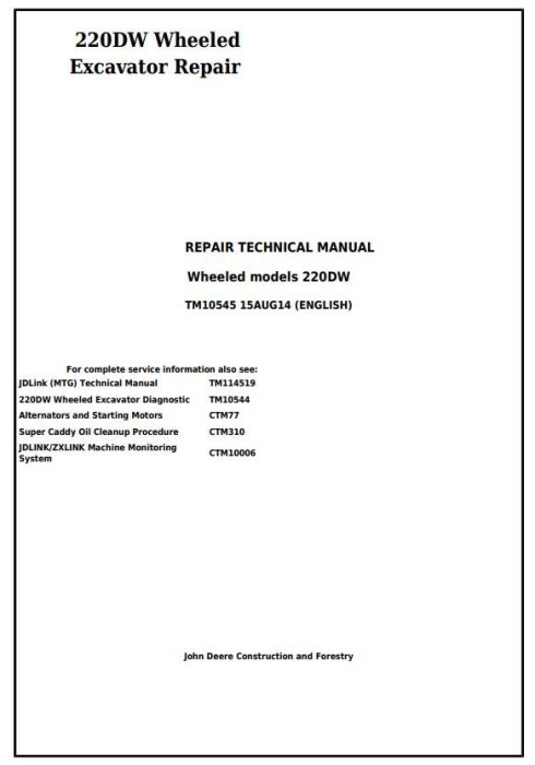 First Additional product image for - John Deere 220DW Wheeled Excavator Service Repair Technical Manual (tm10545)