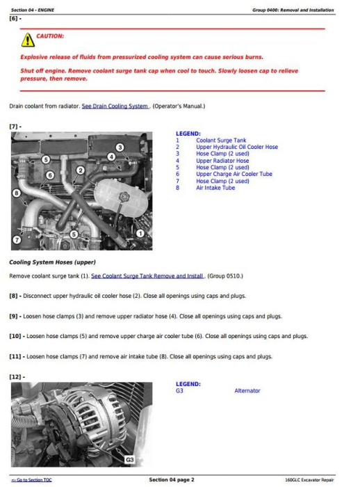 Second Additional product image for - John Deere 160GLC (PIN: 1FF160GX__E055001-) iT4/S3B Excavator Service Repair Manual (TM12345)