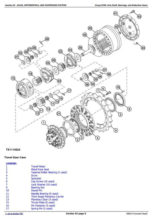 Second Additional product image for - John Deere 160GLC (PIN:1F9160GX__D055001-) Excavator Service Repair Technical Manual (TM13193X19)