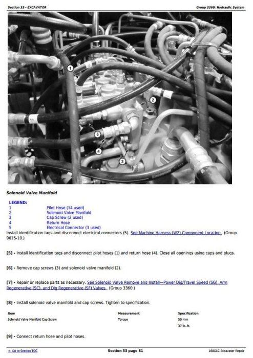 Fourth Additional product image for - John Deere 160GLC (PIN:1F9160GX__D055001-) Excavator Service Repair Technical Manual (TM13193X19)