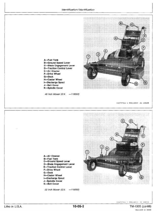 Third Additional product image for - Commercial Walk-Behind Mowers Models 32, 36, 48, 52 inch Technical Service Manual (tm1305)