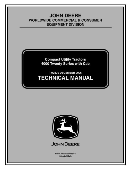 First Additional product image for - John Deere 4120,4320,4520,4720(SN.120001-670000) Compact Utility Tractors w.Cab Technical Manual (tm2370)