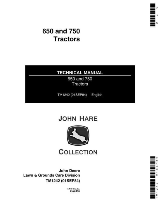 First Additional product image for - John Deere Utility Tractor 650 (SN.001000-025426), 750 (SN.001000-028161) Technical Service Manual TM1242