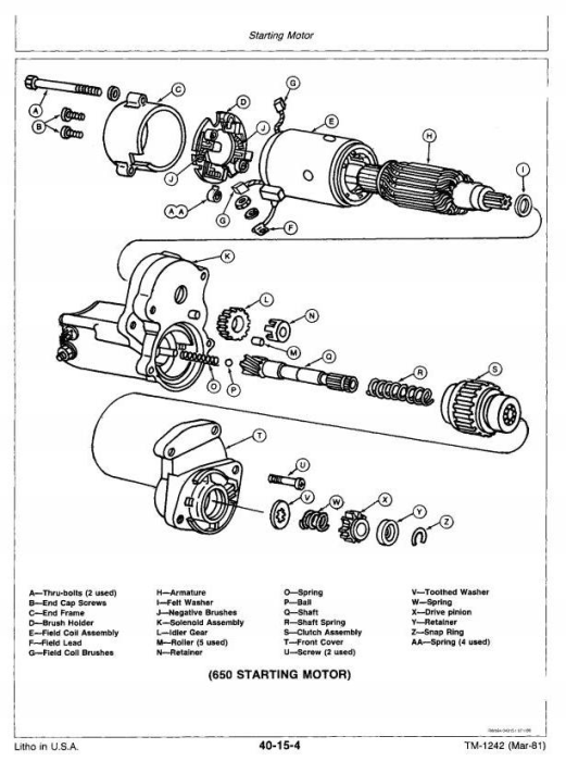 Second Additional product image for - John Deere Utility Tractor 650 (SN.001000-025426), 750 (SN.001000-028161) Technical Service Manual TM1242
