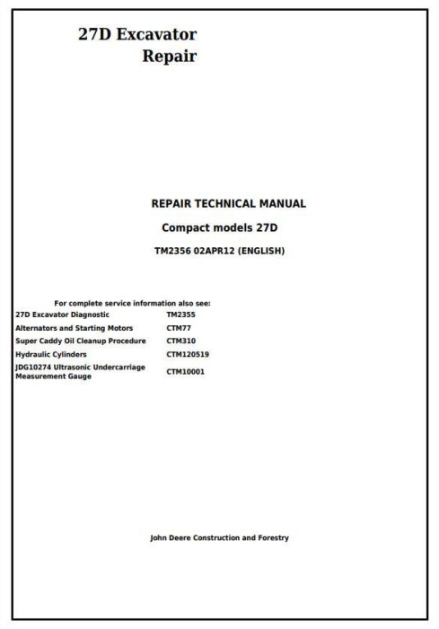 First Additional product image for - John Deere 27D Compact Excavator Service Repair Technical Manual (TM2356)