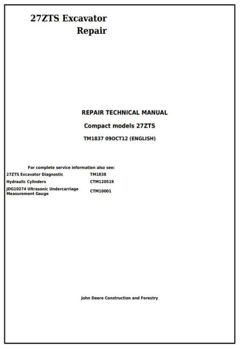 First Additional product image for - John Deere 27ZTS Compact Excavator Service Repair Technical Manual (TM1837)