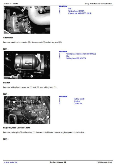 Third Additional product image for - John Deere 27ZTS Compact Excavator Service Repair Technical Manual (TM1837)