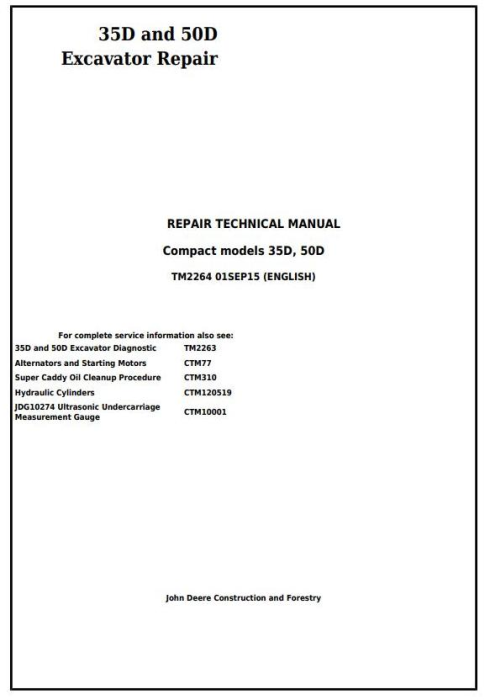 First Additional product image for - John Deere 35D and 50D Compact Excavator Service Repair Technical Manual (TM2264)