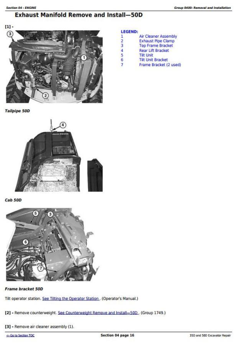 Second Additional product image for - John Deere 35D and 50D Compact Excavator Service Repair Technical Manual (TM2264)