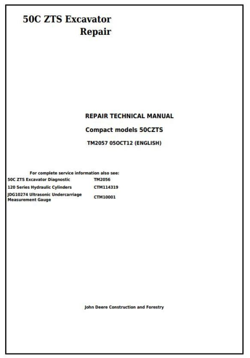 First Additional product image for - John Deere 50Czts Compact Excavator Service Repair Technical Manual (TM2057)