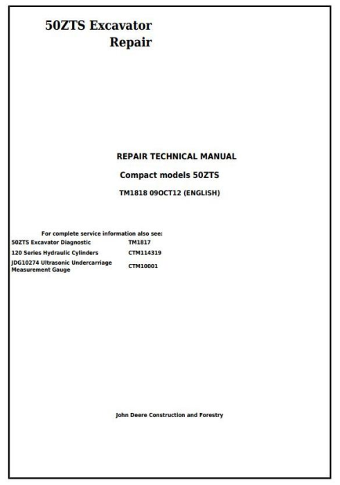 First Additional product image for - John Deere 50ZTS Compact Excavator Service Repair Technical Manual (TM1818)