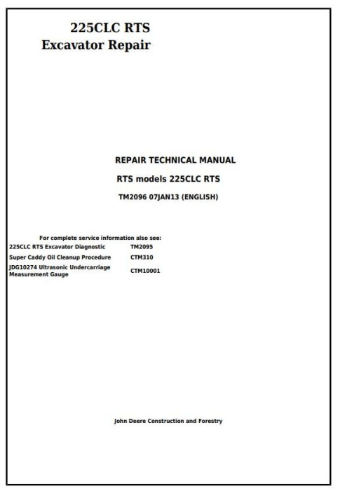 First Additional product image for - John Deere 225CLC RTS RTS Excavator Service Repair Technical Manual (TM2096)