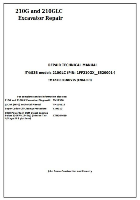 First Additional product image for - John Deere 210G, 210GLC (PIN: 1FF210GX__E520001-) iT4/S3B Excavator Service Repair Manual (TM12333)
