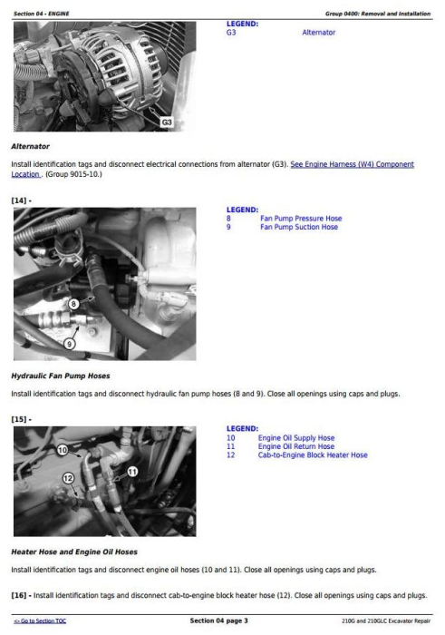 Second Additional product image for - John Deere 210G, 210GLC (PIN: 1FF210GX__E520001-) iT4/S3B Excavator Service Repair Manual (TM12333)