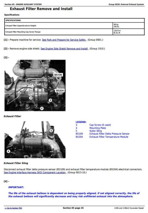 Third Additional product image for - John Deere 210G, 210GLC (PIN: 1FF210GX__E520001-) iT4/S3B Excavator Service Repair Manual (TM12333)