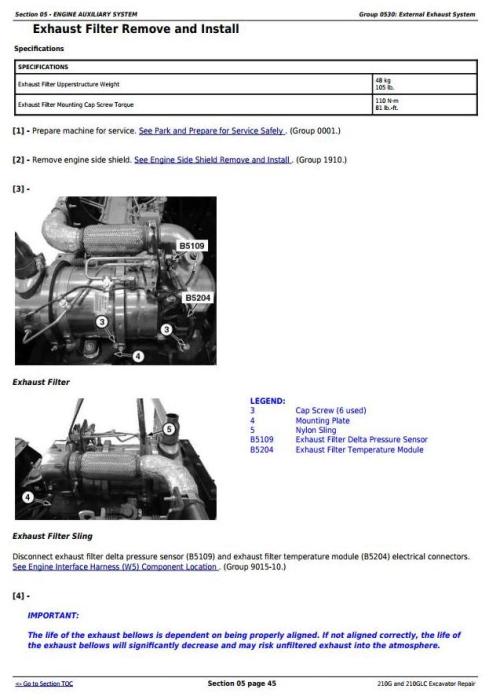 Third Additional product image for - John Deere 210G, 210GLC (PIN: 1FF210GX__E520001-) iT4/S3B Excavator Service Repair Manual (TM12333)