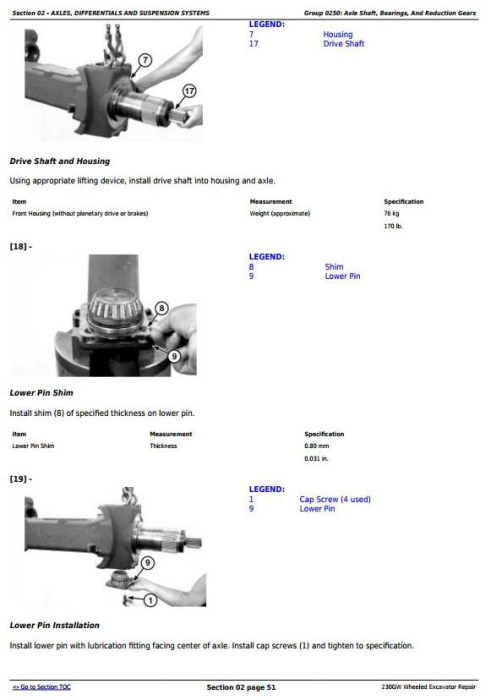 Second Additional product image for - John Deere 230GW Wheeled Excavator Service Repair Manual (TM13250X19)