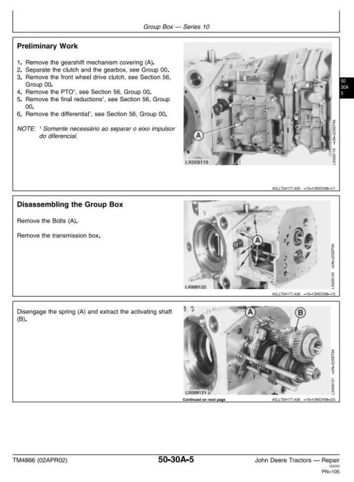 Second Additional product image for - John Deere 6405 and 6605 Tractors (Brasil) Technical Service Manual (TM4866)