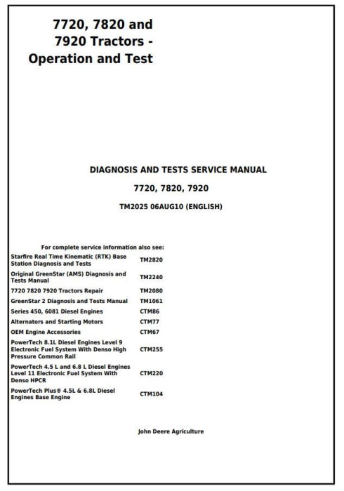First Additional product image for - John Deere 7720, 7820 and 7920 Tractors Diagnostic and Tests Service Manual (TM2025)