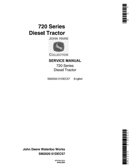 First Additional product image for - John Deere 720, 730 Tractors Technical Service Manual (sm2020)