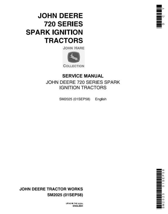 First Additional product image for - John Deere 70, 720 & 730 (Gas) Tractor Technical Service Manual (sm2025)