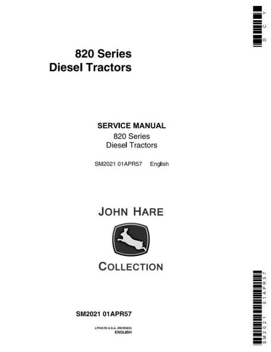 First Additional product image for - John Deere 820, 830, 80 Series Diesel Tractor Technical Service Manual (sm2021)