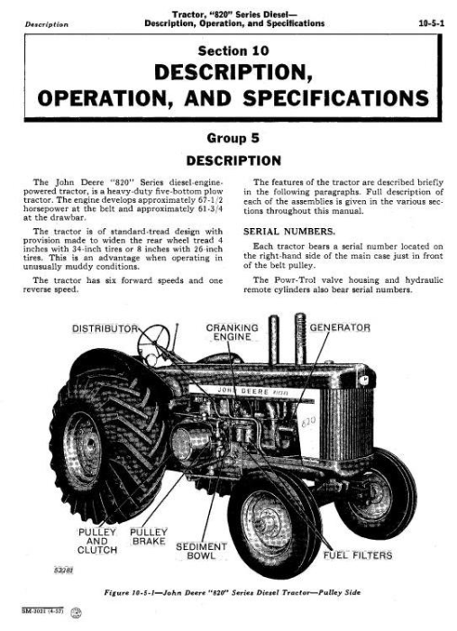 Fourth Additional product image for - John Deere 820, 830, 80 Series Diesel Tractor Technical Service Manual (sm2021)
