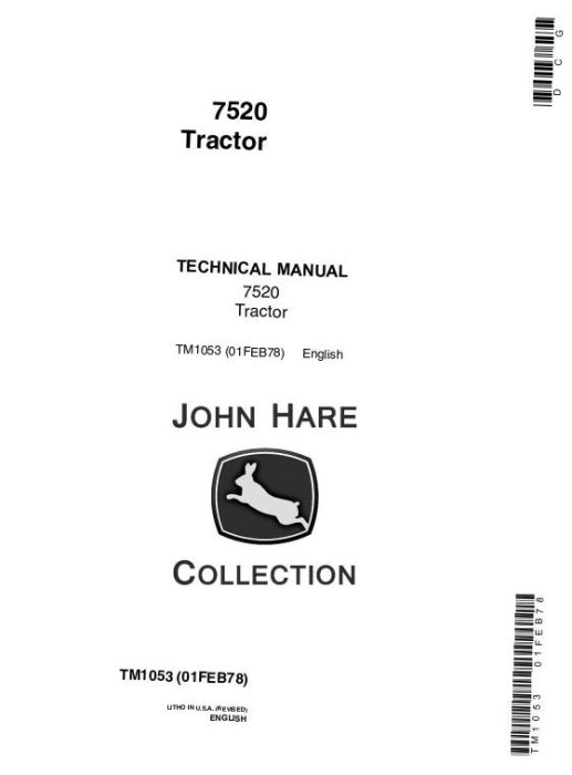 First Additional product image for - John Deere 7520 4WD Articulated Tractors Technical Service Manual (tm1053)