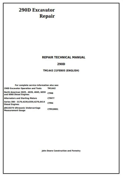 First Additional product image for - John Deere 290D Excavator Service Repair Technical Manual (tm1443)