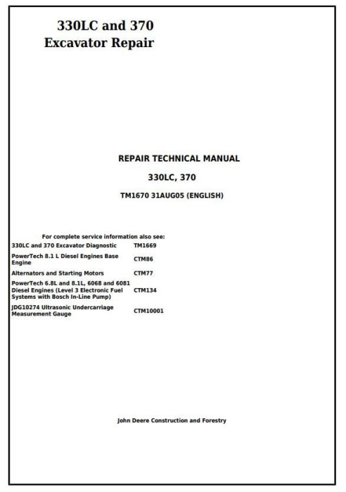 First Additional product image for - John Deere 330LC and 370 Excavator Service Repair Technical Manual (tm1670)