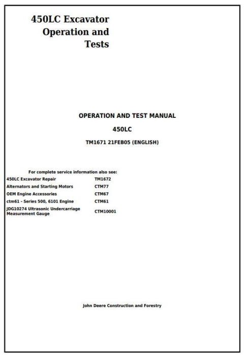 First Additional product image for - John Deere 450LC Excavator Diagnostic, Operation and Test Manual (tm1671)