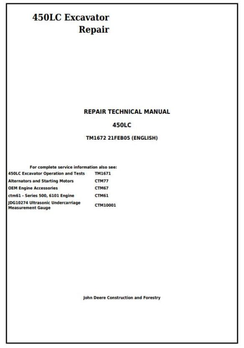 First Additional product image for - John Deere 450LC Excavator Service Repair Technical Manual (tm1672)