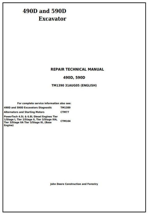 First Additional product image for - John Deere 490D and 590D Excavator Service Repair Technical Manual (tm1390)