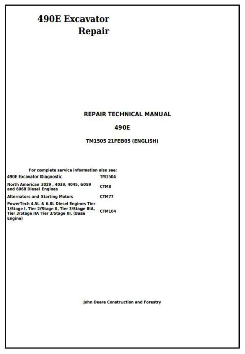 First Additional product image for - John Deere 490E Excavator Service Repair Technical Manual (tm1505)