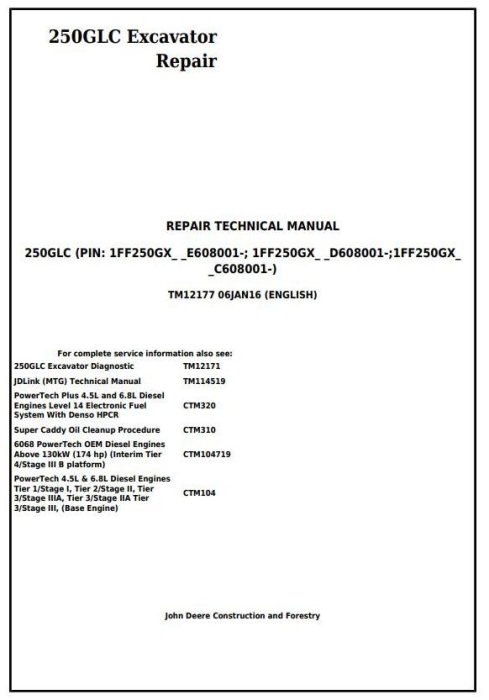 First Additional product image for - John Deere 250GLC Excavator Service Repair Technical Manual (TM12177)
