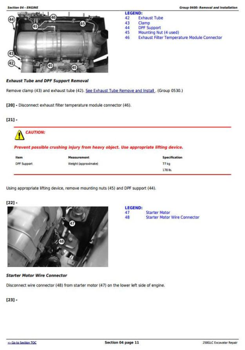 Second Additional product image for - John Deere 250GLC Excavator Service Repair Technical Manual (TM12177)