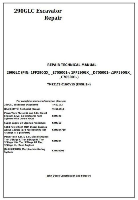 First Additional product image for - John Deere 290GLC Excavator Service Repair Technical Manual (TM12178)