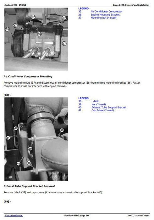 Second Additional product image for - John Deere 290GLC Excavator Service Repair Technical Manual (TM12178)