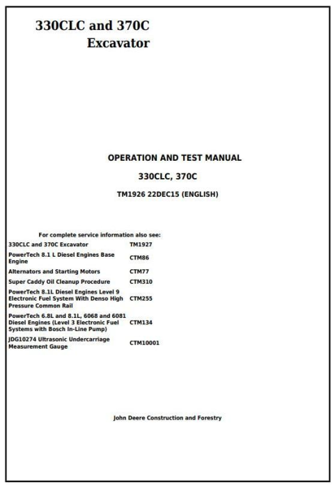 First Additional product image for - John Deere 330CLC and 370C Excavator Diagnostic, Operation and Test Service Manual (TM1926)