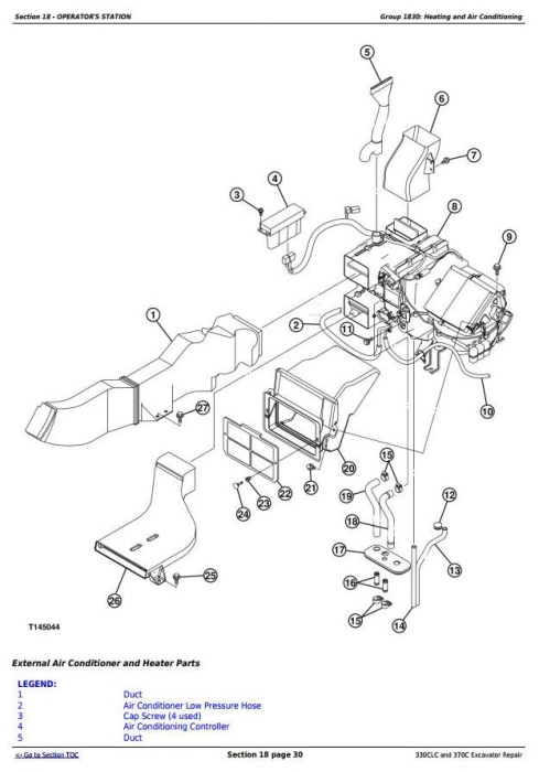 Third Additional product image for - John Deere 330CLC and 370C Excavator Service Repair Technical Manual (TM1927)