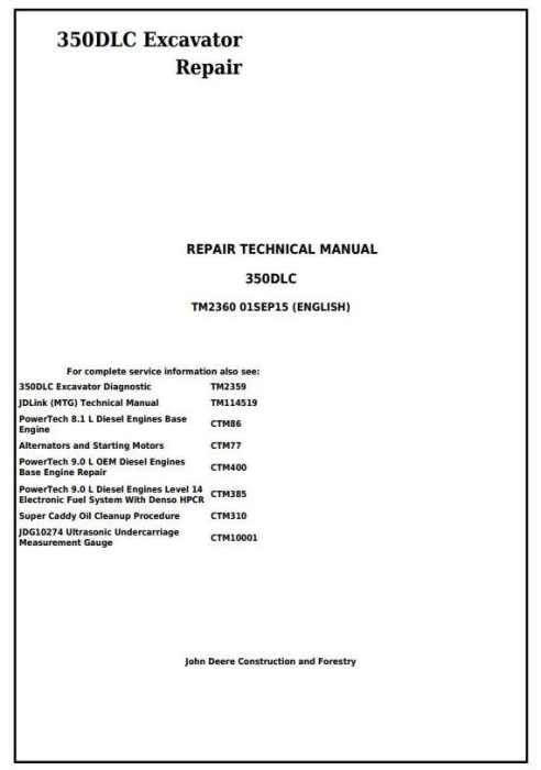 First Additional product image for - John Deere 350DLC Excavator Service Repair Technical Manual (TM2360)