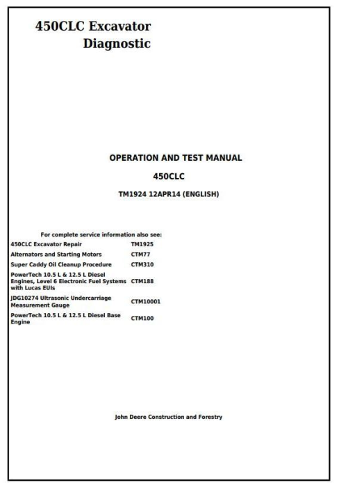 First Additional product image for - John Deere 450CLC Excavator Diagnostic, Operation and Test Service Manual (TM1924)