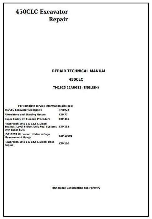 First Additional product image for - John Deere 450CLC Excavator Service Repair Technical Manual (TM1925)