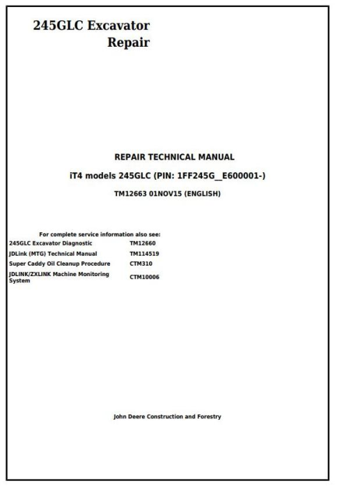 First Additional product image for - John Deere 245GLC iT4 Excavator Service Repair Technical Manual (TM12663)