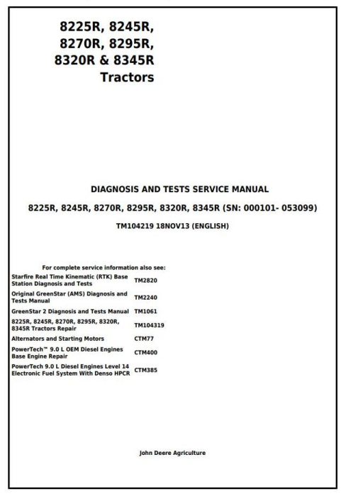 First Additional product image for - John Deere 8225R, 8245R, 8270R, 8295R, 8320R, 8345R Tractors Diagnosis and Test Service Manual (TM104219)