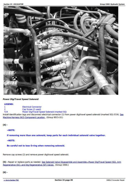 Fourth Additional product image for - John Deere 160GLC (PIN: 1FF160GX__F055671-) Excavator Service Repair Technical Manual (TM13349X19)