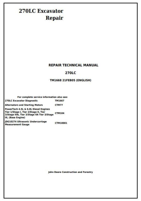 First Additional product image for - John Deere 270LC Excavator Service Repair Technical Manual (tm1668)
