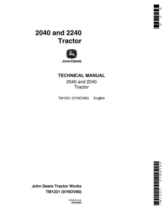 First Additional product image for - John Deere  2040, 2240 Tractors Technical Service Manual (tm1221)